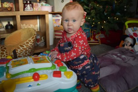 Here's our baby using an activity table