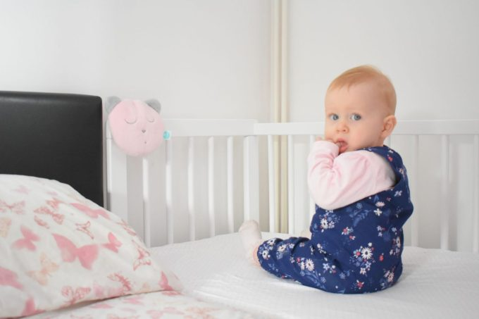Our MyHummy Sleepy Head in our next-to-me cot that we co-sleep with