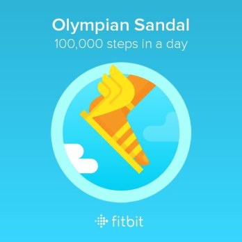 The Fitbit Olympian Sandal Badge for 100,000 steps