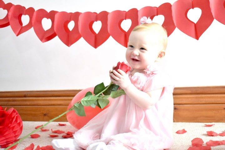 Baby Valentine's Day photo shoot