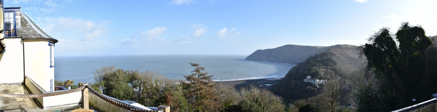 The view from the Lynton Cottage Hotel in Lynton