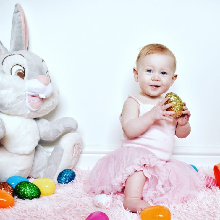 Our baby girl in pink for an Easter themed photo shoot