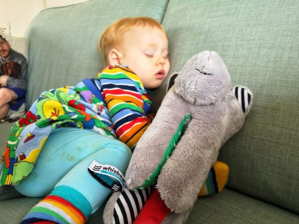 Our toddler asleep with the Whisbear. All part of my review on whether or not it works to help get a baby to sleep