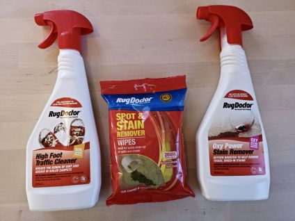 Altogether we've been using the High Foot Traffic Cleaner, the Oxy Power Stain Remover and the Spot and Stain Wipes.