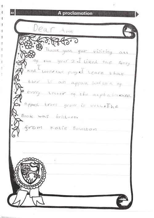 ISAFRUIT in schools: Thank you letters from pupils at