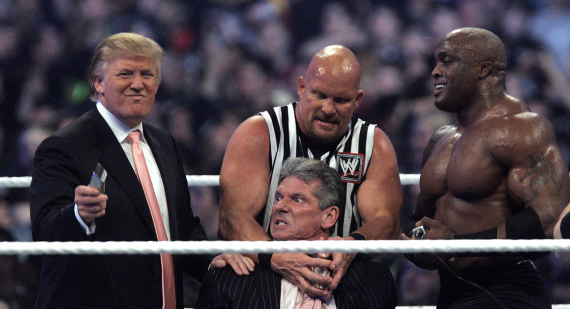 "WWE Chairman Vince McMahon, center, held by ""Stone Cold"" Steve Austin, prepares to have his hair cut off by Donald Trump"
