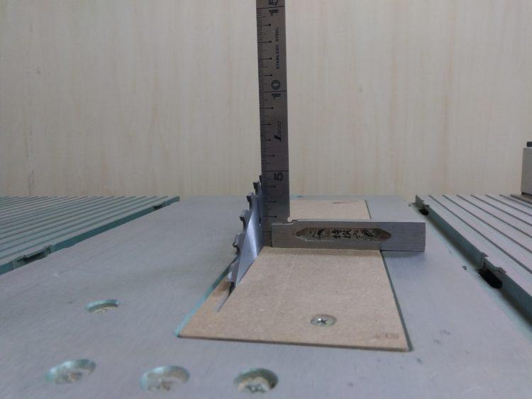 昇降盤 刃の直角確認・刃の出計測