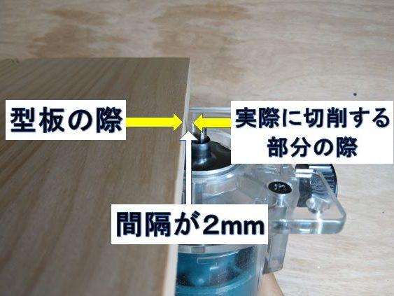 型枠の際と切削位置の間隔