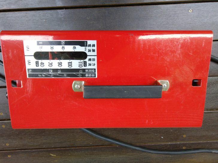 溶接機上面 インジケーター(出力電流調整器)