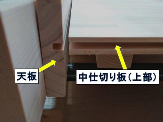 天板と中仕切り板(上部)の接合部