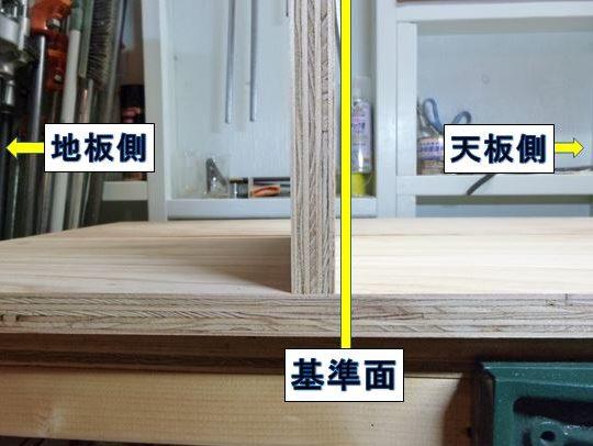 側・中仕切り板に挟まれる固定棚の基準面