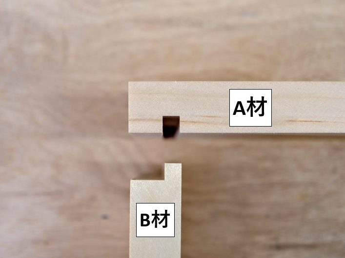 A材(溝をほる部材)とB材(片胴付きのさね加工を施す部材)