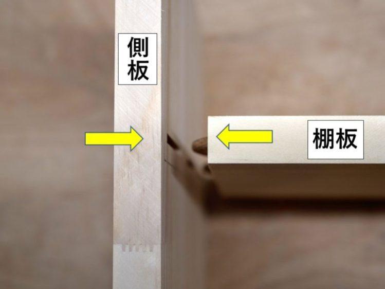 側板と棚板をビスケットで接合