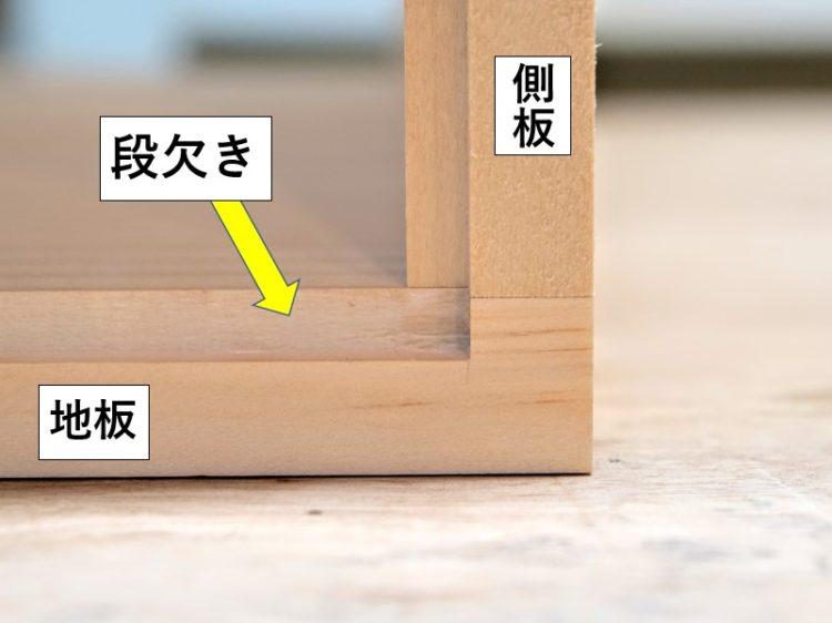 木端面内側に段欠きを施す