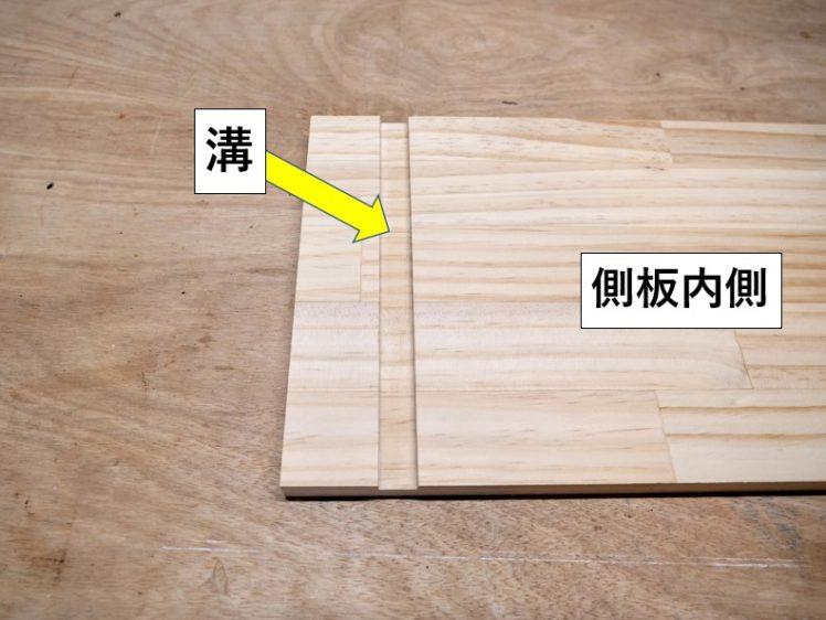 側板内側に溝を切削する