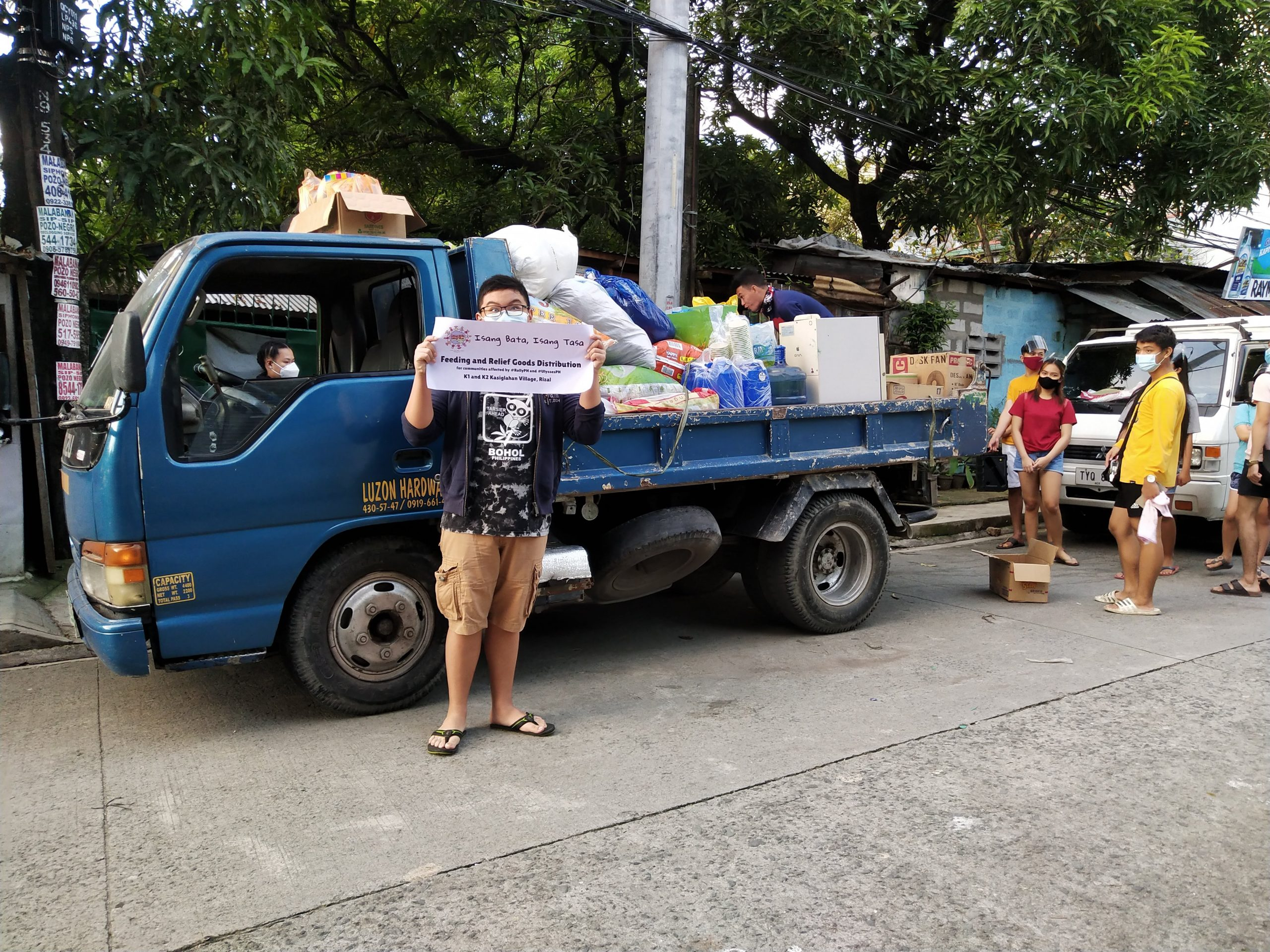 Our hired truck loaded with goods and materials for the distribution