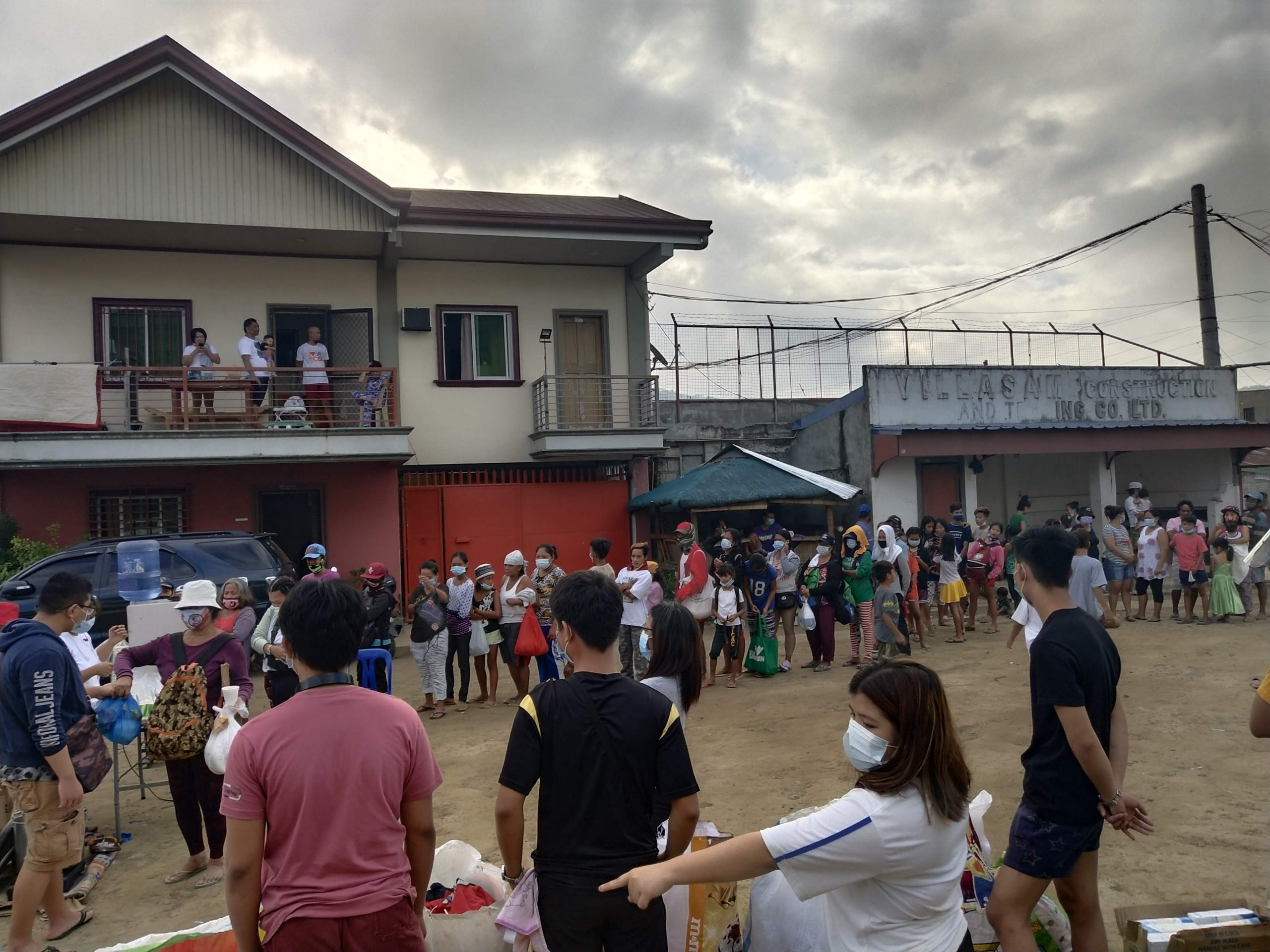 People in line for the relief goods