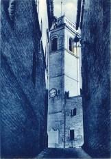 Torre Civica vista dal Vicolo Mariano Scipioni. Cartolina Giulietti.