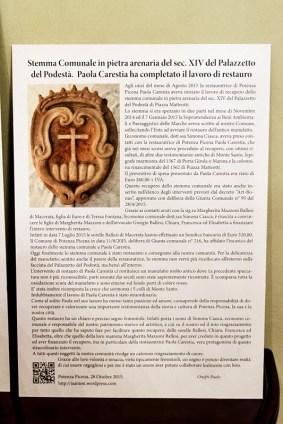 Inaugurazione restaurato stemma Comunale in Pietra Arenaria del Sec. XIV del giorno sabato 14 Novembre 2015. Foto Sergio Ceccotti.