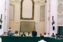Intervento di don Carlo Leoni. 18 Giugno 2005 Consiglio Comunale straordinario presso l'Auditorium Ferdinando Scarfiotti. Foto di Angelo Bongelli.