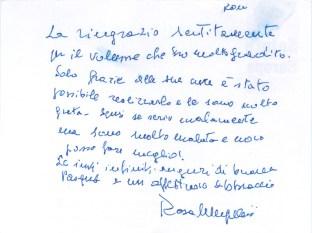 Biglietto di ringraziamento della nipote del M° Bruno Mugellini, Rosa Mugellini di Roma, inviato a Paolo Onofri il giorno 24-3-2016.