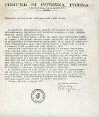 Relazione di Iolanda Cingolani, archivista comunale, del 7-5-1977 sulle condizioni del fondo antico di Potenza Picena. ASCPP.