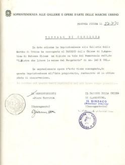 Lettera della Soprintendenza di Urbino del 27-7-1972 per la riconsegna del quadro restaurato. Archivio Storico Comunale.
