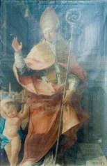 Foto prima del restauro del Sant'Emidio che protegge Monte Santo di Benedetto Biancolini - 1770 - olio su tela. Foto Comune di Potenza Picena.