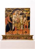 Trittico di Paolo Bontulli da Percanestro del 1507. Madonna con Bambino tra i santi Giacomo Maggiore e Rocco. Foto di Sergio Ceccotti.