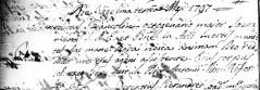 Atto di morte di Benedetto Biancolini del 23 maggio 1797. Archivio Storico Parrocchia dei Santi Stefano e Giacomo Potenza Picena.