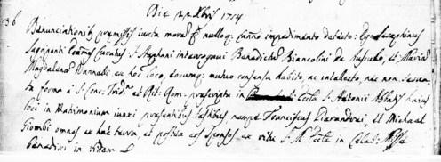 Atto di matrimonio di Benedetto Biancolini e Maria Maddalena Vannelli del 22 dicembre 1754. Archivio Storico Parrocchia dei Santi Stefano e Giacomo Potenza Picena.