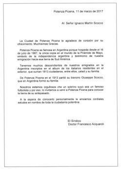 Lettera del Sindaco Francesco Acquaroli a Ignacio Martin Scoco. Traduzione di Emilio Zamboni.