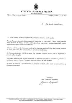 Lettera del Sindaco Francesco Acquaroli a Ignacio Martin Scoco.