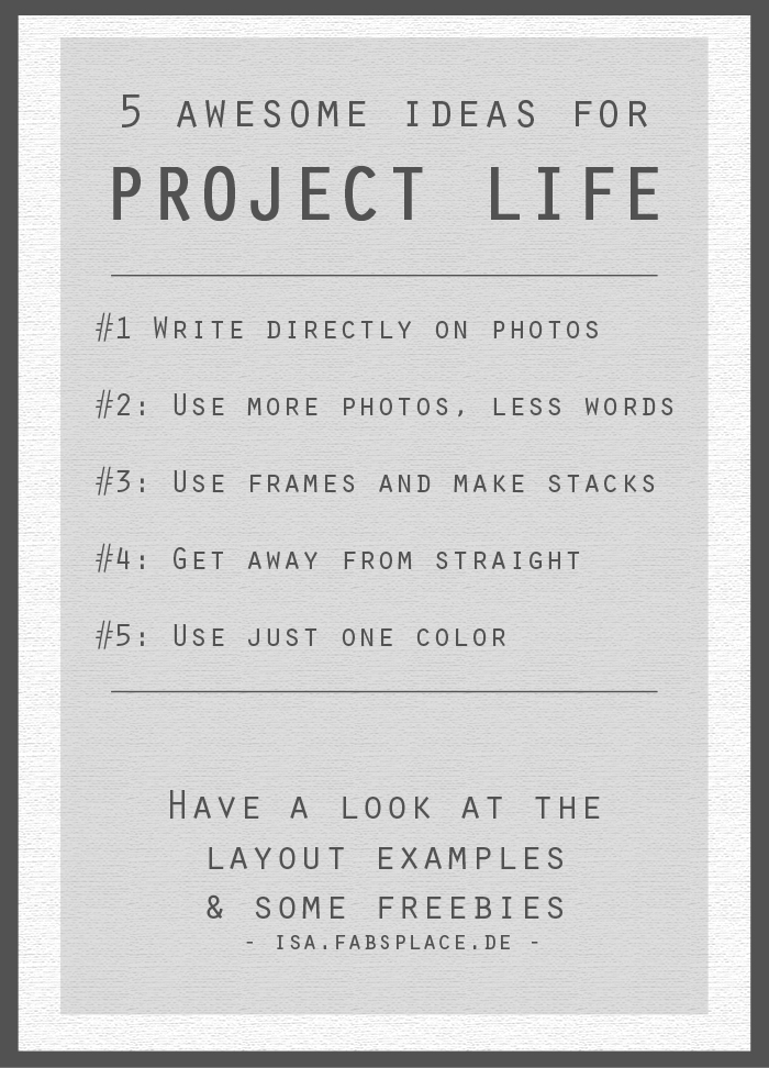 Project Life Ideas #1 for Inspiration
