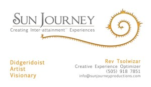 Sun Journey Productions Business Cards Design for founder Rev Tsolwizar