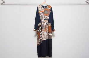 Original print switching dress