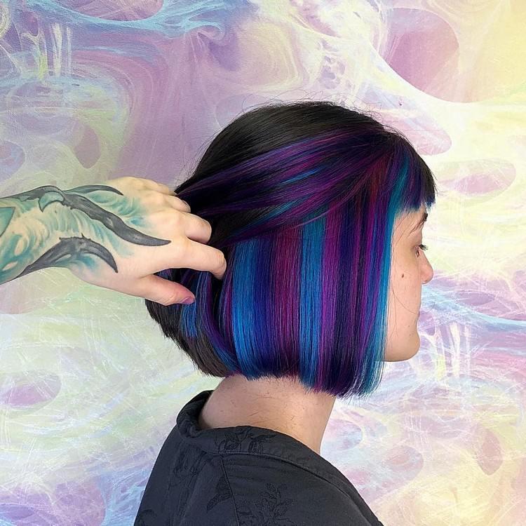 Hair Trends 2021: hidden rainbow hair