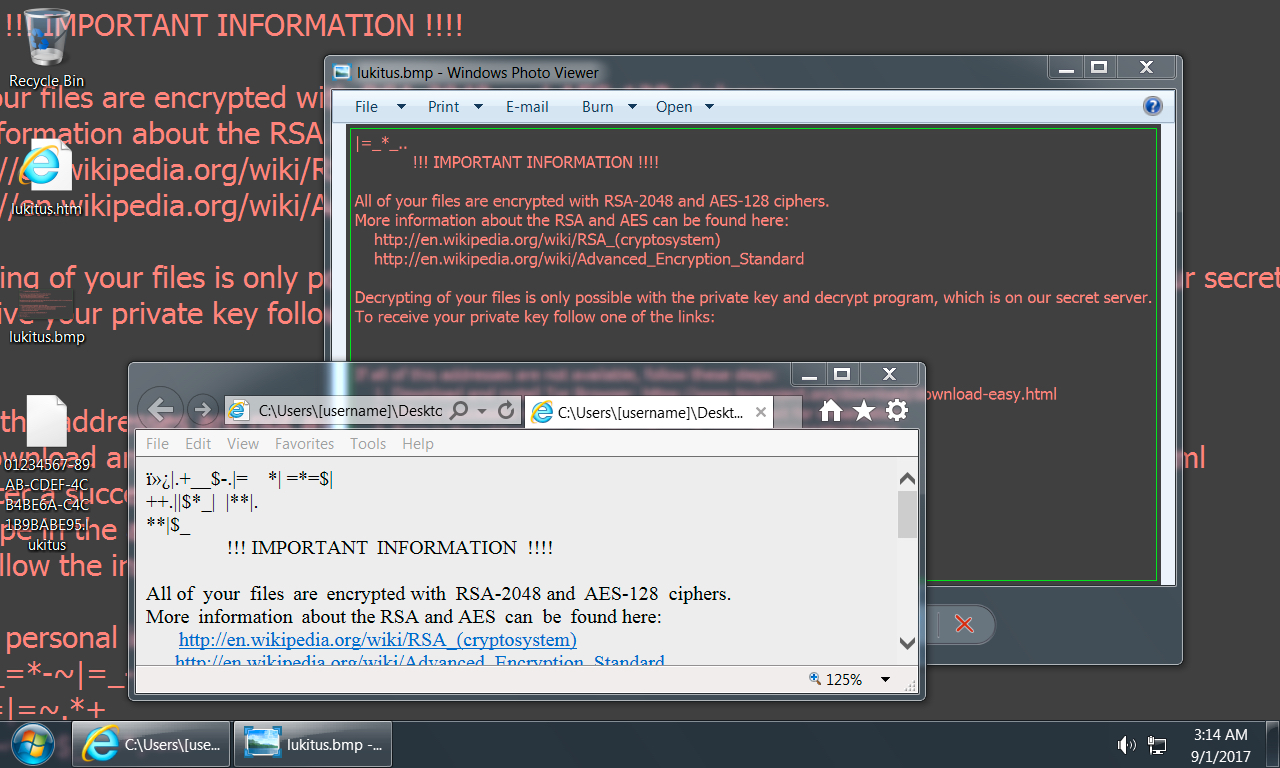 Shown above Desktop of an infected Windows
