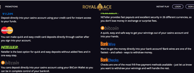 Royal Ace Casino Deposit and Withdrawal