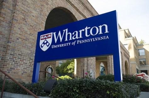 Wharton, University of Pennsylvania signboard.