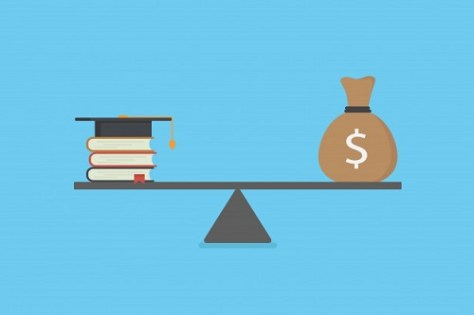Books and graduation cap balanced across the cost of education