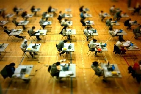 Students giving the SAT exam