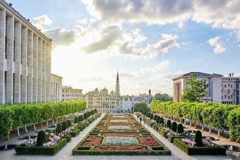 The Mont des Arts at sunset with people walking and exploring local beauties. Brussels, Belgium