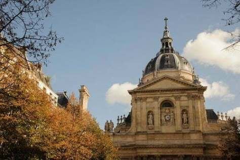 PARIS, FRANCE - OCTOBER 20, 2017: The Sorbonne is an edifice of the Latin Quarter, in Paris.
