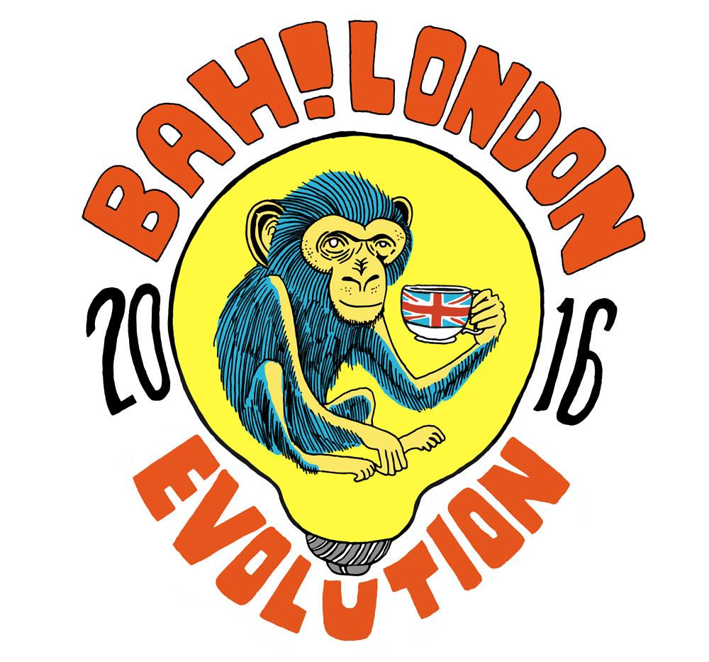 Bah!London poster with monkey inside of lightbulb