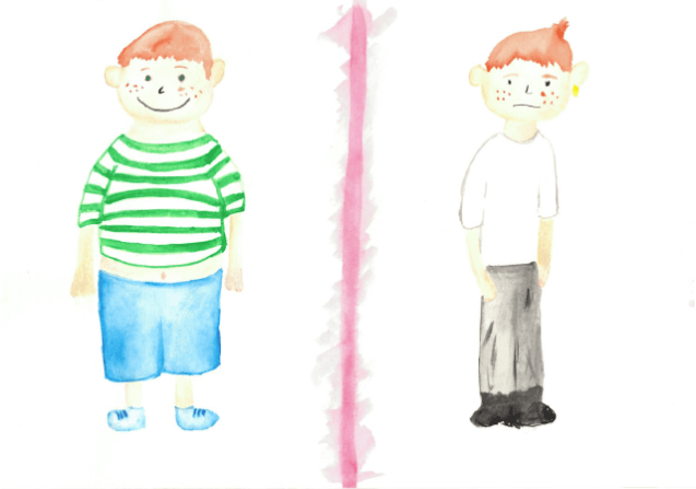 drawing of fat boy and skinny boy