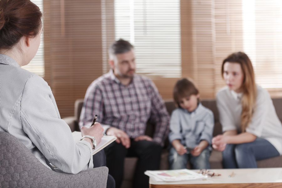 family talking to therapist