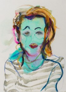 blue blurry woman