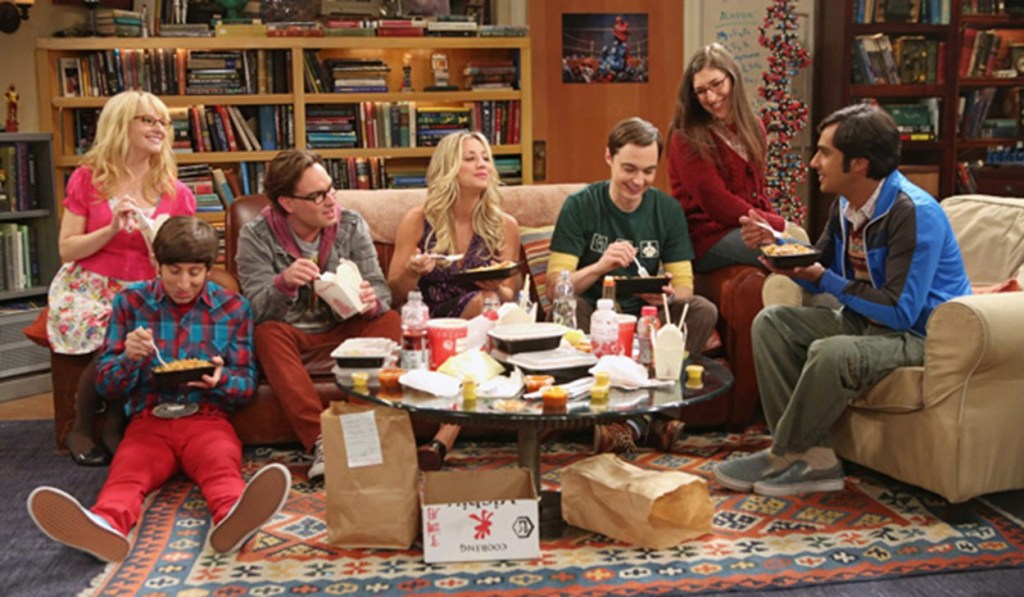 Characters from left to right: Bernadette, Howard, Leonard, Penny, Sheldon, Amy, and Raj.