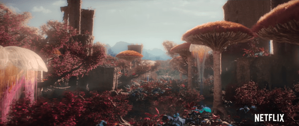 landscape showing fantasy world surrounded by fungi